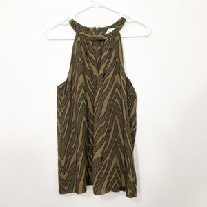 banana republic brown zebra print key hole top